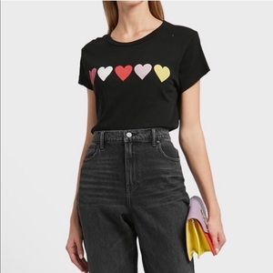 WILDFOX hearts distressed cropped tee shirt